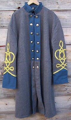 civil war confederate infantry frock coat with 4 row braids 44