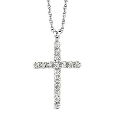 925 Sterling Silver Diamond Cross Necklace Pendant 0.05ct 18""