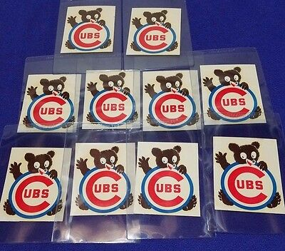 Lot Of (10) Original Vintage 1960's Chicago Cubs Decal Stickers
