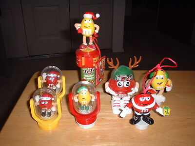Lot of 5 M&M Christmas  Toppers - 1 Sticker Stamper - 1 Mini Dispenser