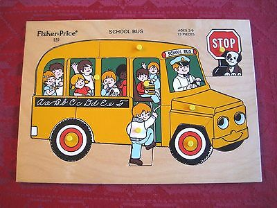 Vintage Fisher Price # 515 School Bus Wood Puzzle