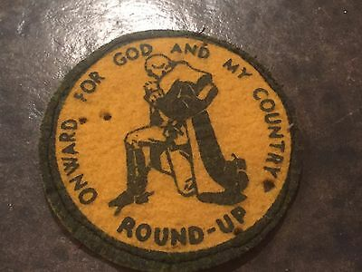 Onward For God and My Country Round Up Vintage Patch , Boy Scouts , Patriotic