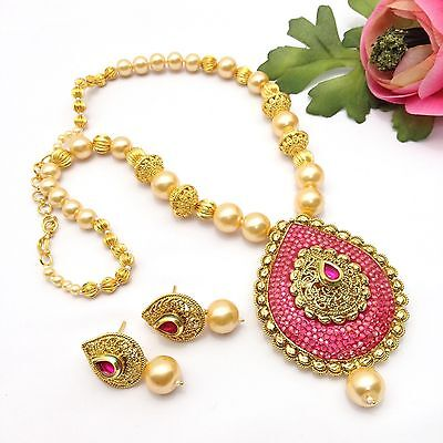 New Indian Bridal Jewellery Bollywood Asian Ethnic Wear Pearl Necklace Set