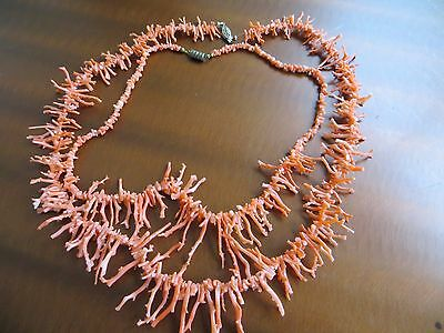 "Vintage 50-60s, Branch Natural Salmon Coral Beaded 2 necklaces 23"" + 18"""
