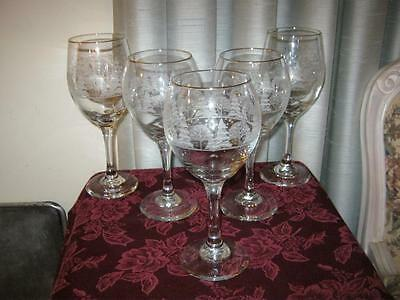 5 Arby Glasses Etch Long Stem  Holiday Wine Water Goblet  Winter Scene  Gold Rim