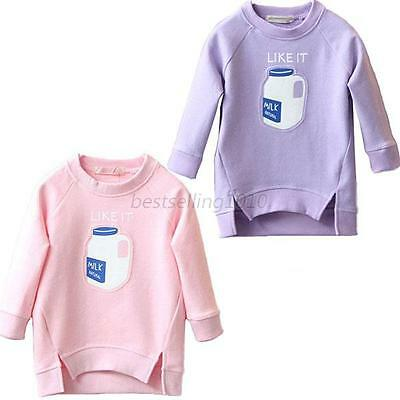 Cute Kids Sweatshirt Long Sleeve Hoodies Baby Girls Sweats Tops Pullover 2-7Y