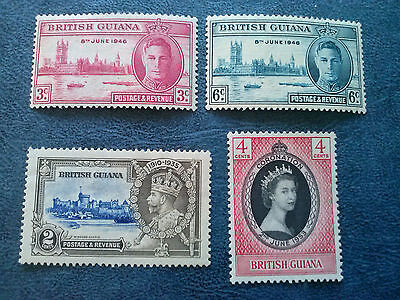 BRITISH GUIANA Lot of 4 different stamps  MH