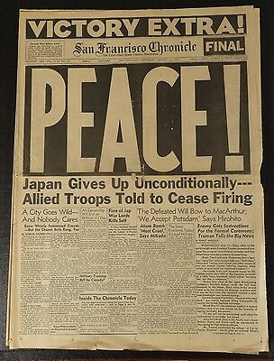 Wwii Victory Extra Peace Japan Surrender Aug 15 1945 The San Francisco Chronicle