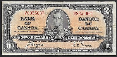 BC-22c 1937  $2 BANK OF CANADA  FINE+ L@@K NR