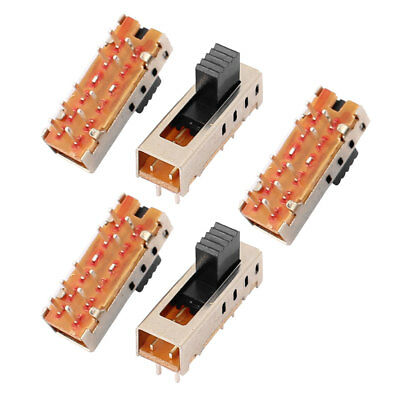 5Pcs 4 Position 10P 2P4T Panel Mount Micro Slide Switch Latching Power Switch