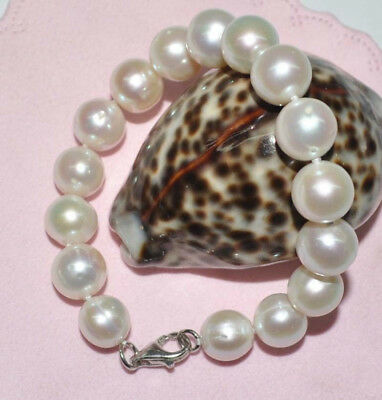Free shipping 11mm Natural white genuine pearl bracelet