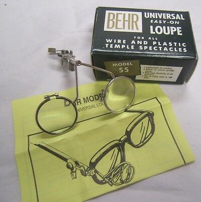 """BEHR Universal EASY-ON Double LOUPE for glasses Model 55 w/ box 2 1/2 - 1 1/2"""" *"""