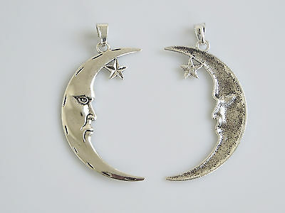5 Large Man in the Crescent Moon Face & Star Tibetan Silver Charms Pendants 84mm