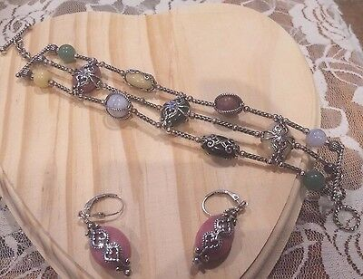 Carolyn Pollack Gemstone Bracelet & Earrings