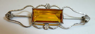 Antique Art Deco 10K White Gold Inverted Yellow Baguette Stone Bar Pin