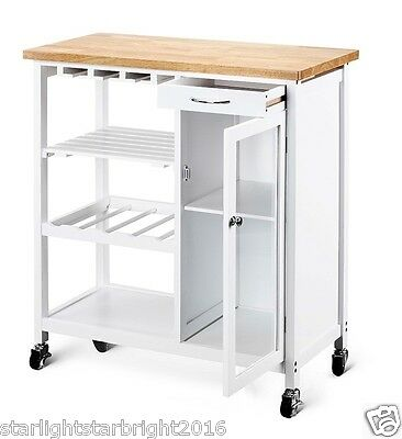 Kitchen Trolley Kitchen Island Bench with Wheels Portable Workbench Shelf Drawer