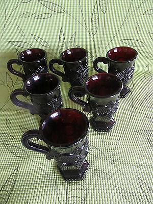 Vintage~Avon~Cape Cod~Ruby Red Glass~6- FOOTED HANDLED MUGS~ NICE!