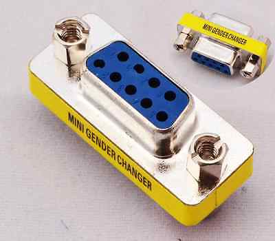 Serial RS-232 DB9 9 Pin Female to Female F/F Gender Changer Coupler Adapter FR