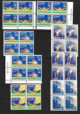 Canada 8 Olympic semi-postals blocks VF MNH issue price $4.80