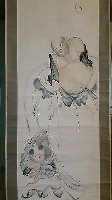 JG05 Large Japanese Hand Painted Scroll Man and Boy Sealed