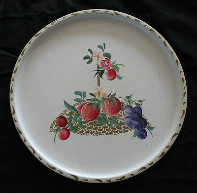 Vintage Hand Painted FRUIT Round White TOLE TRAY Plums Grapes Flowers Basket