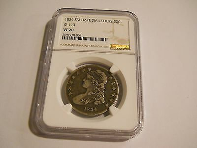 1834 Capped Bust Half Dollar Small Date Small Letters Ngc Vf20 50C