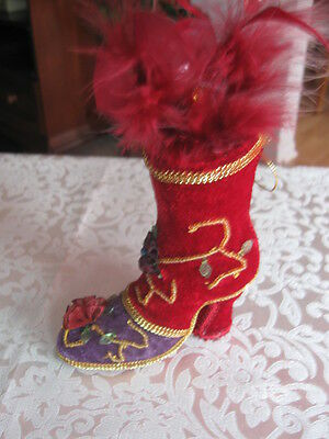 Tall Red & Purple Velvet Victorian Shoe Ornament Feathers Flowers Beading Trim