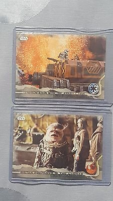 Lot (2) 2016 Topps Star Wars Rogue One Gray Squad #/100 cards #53 & 88 Bistan