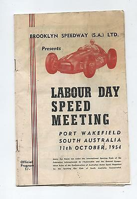 1954 Port Wakefield Programme Racing Touring Sports Motorcycle Brooklyn Speedway