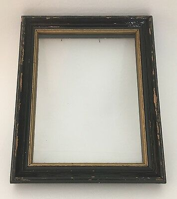 Mid 19th Century Wood Black & Gold Frame Antique Glass front