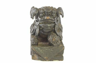 Antique Chinese Black Wooden Carved Statue / Figure of Animal Foo Dog