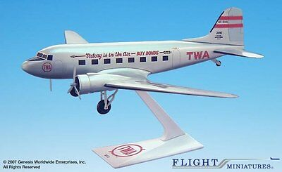 Flight Miniatures TWA Victory is in the Air DC-3 1/100 Scale Model with Stand