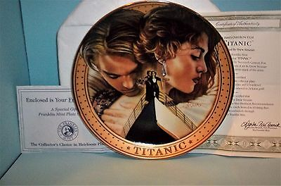 Titanic Collector Plate Franklin Mint With Coa, Plate Stand- Winslet & Dicaprio