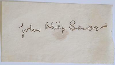 JOHN PHILIP SOUSA Autograph IN dark sepia brown INK ON OLD PAPER