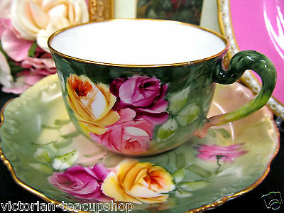 T & V Limoges Tea Cup And Saucer Painted Roses Pattern Teacup