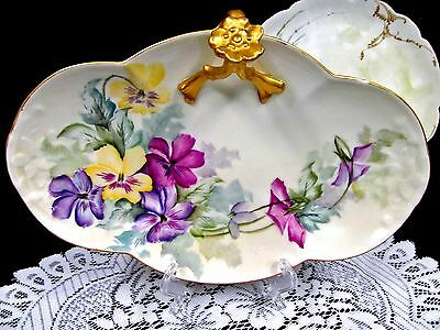 Limoges France Painted Floral Pansy Tray With Flower Handle