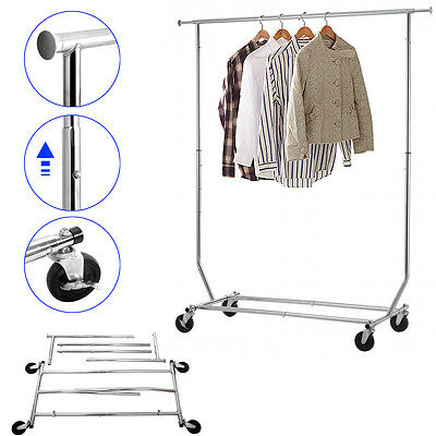 Heavy Duty Commercial Garment Rack Rolling Collapsible Clothes Shelf Horse