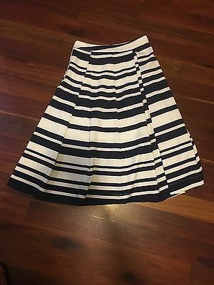 Navy blue and white pleated skirt
