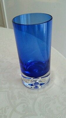 Vtg. Cobalt Blue and Clear Crystal  Vase   SIGNED  BLOCK With Internal Bubble
