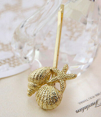 Women Retro New Metal Golden Plated Conch/Shell Hairpin Hairclip Hair Stick