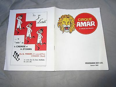 CIRQUE AMAR Programme 1969 collector