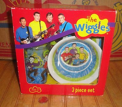CHILDS 3 PIECE SET VINTAGE WIGGLES PLATE BOWL AND CUP SET New Unused in Box