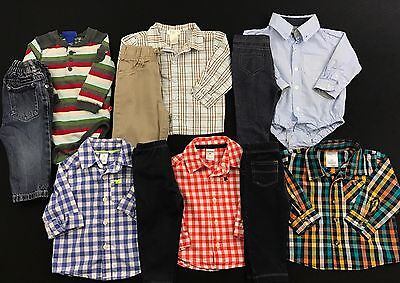 Infant Baby Boy Clothes 6-9 Months Long Sleeve Shirts Pants Mixed Lot Set