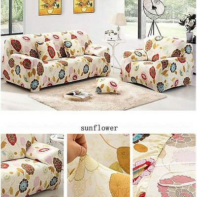 Sunflower 1/2/3 Seater Stretch Slipcover Sofa Slip Cover Couch Protector