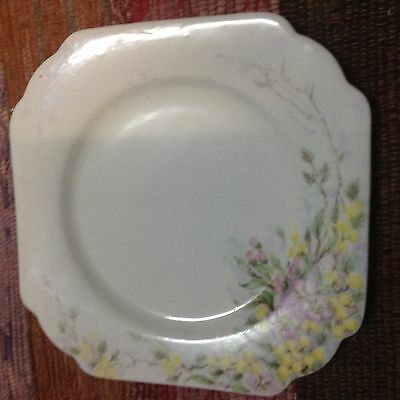 Gladstone pink blossom and wattle side plate-fine bone china-made in England-