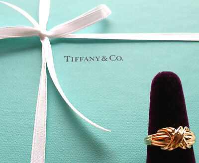"""Authentic TIFFANY & Co. 18K Yellow Gold """" X """" Love Knot Ring US6.5, EU52"""