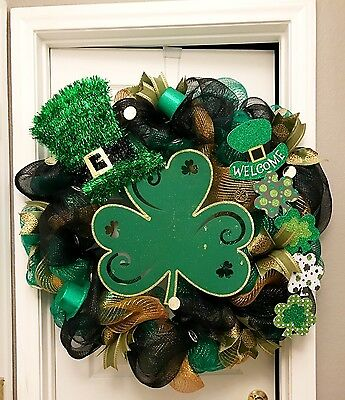 St Patrick's Day Irish 4 Leaf Clover Lucky Welcome Deco Mesh Wreath