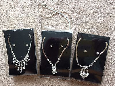 """JOB LOT-3 sets of diamonte necklace + earrings+17""""chain.Gift boxed.Silver plate."""