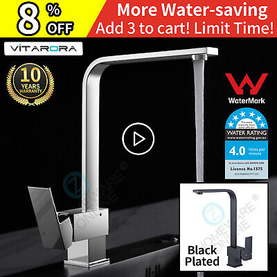 Chrome / Black Brass Square Kitchen Mixer Tap Laundry Sink Swivel Basin Faucet