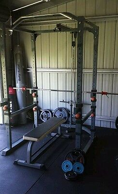 Gym power rack bench and weights
